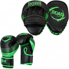 ROAR Curved Focus Pad & Boxing Gloves MMA Kickboxing Set