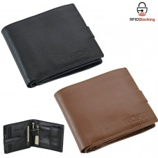 ROAR Cowhide Genuine Leather Mens Wallet RFID Blocking Bifold ID Window