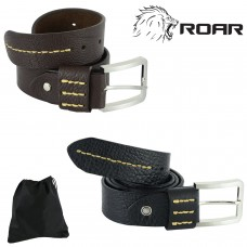 ROAR Cowhide Men's Leather Belts Alloy Smooth Pin Buckle Fashion Waistband Strap