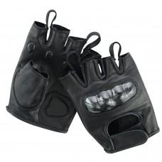 ROAR Men's Fingerless Motorcycle Gloves Cowhide Leather Hard Knuckles Gel Padded