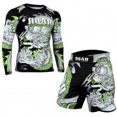 ROAR MMA Grappling Jiu Jitsu Wear MMA Rash Guards BJJ Leggings No Gi Shorts Set