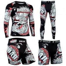 Roar MMA Rash Guard BJJ Shorts UFC Training Mens Compression Leggings Darken Red