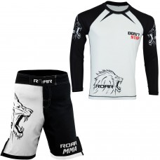 ROAR MMA Cage Fight Rash Guard BJJ Training Shorts